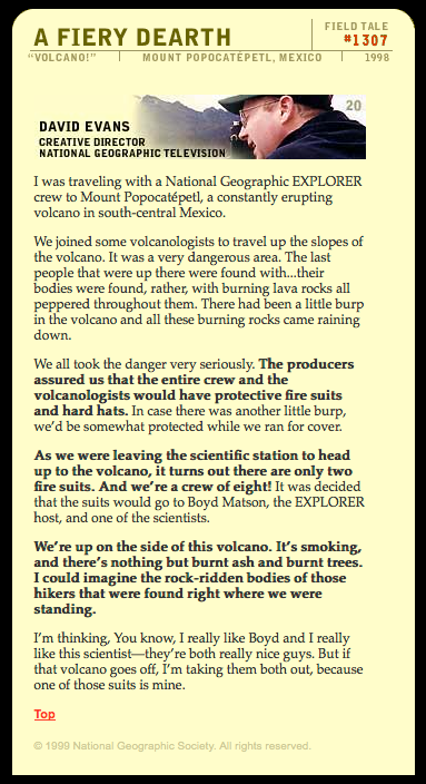 Field Tale from National Geographic's Voices: Traveling up the slopes of a constantly erupting volcano,  Mount Popocatepetl, south-central Mexico.