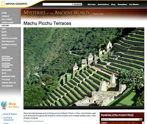 """National Geographic """"Mysteries of the Ancient World"""" Photos of Machu Picchu"""